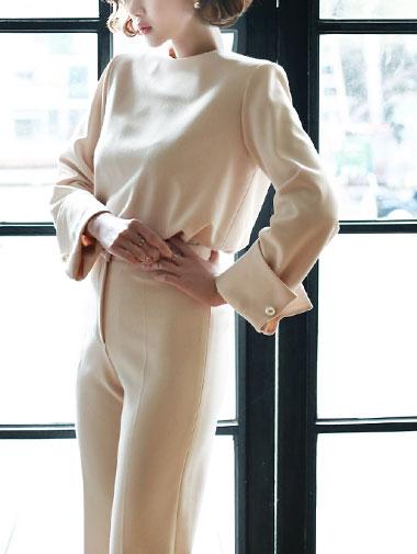 B1933珍珠卷边袖女衬衫