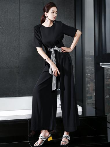 D3255 绑带配色连身裤 (腰带组合) (第35次进货)