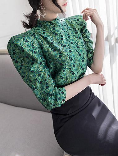 B2113卢卡斯花布机织泡泡袖女衬衫*绿色混搭*