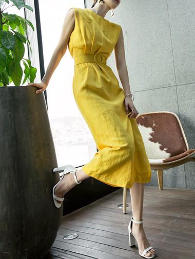 D3567 Waste Line麻麻连衣衣裙(腰带套装)(23次重新储存)