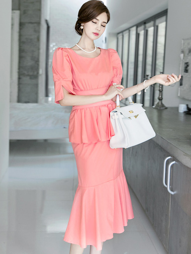 D3601荷叶边连衣裙(腰带套)
