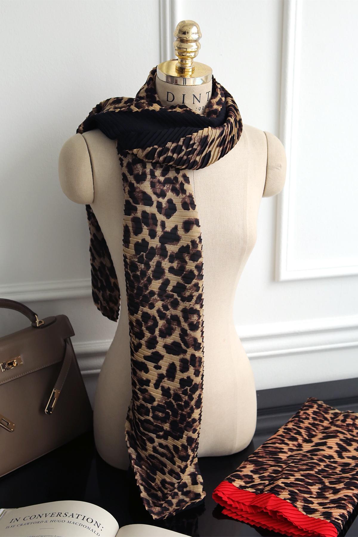 AS-1309百折色豹纹印花围巾