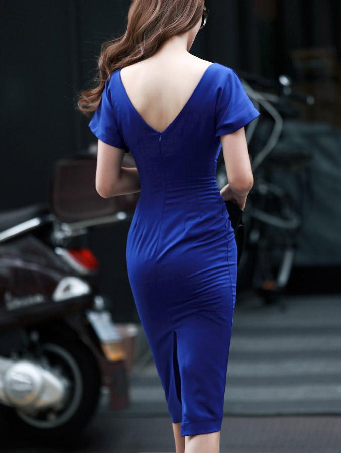 D2763美美修身简约连身裙(127再进货)