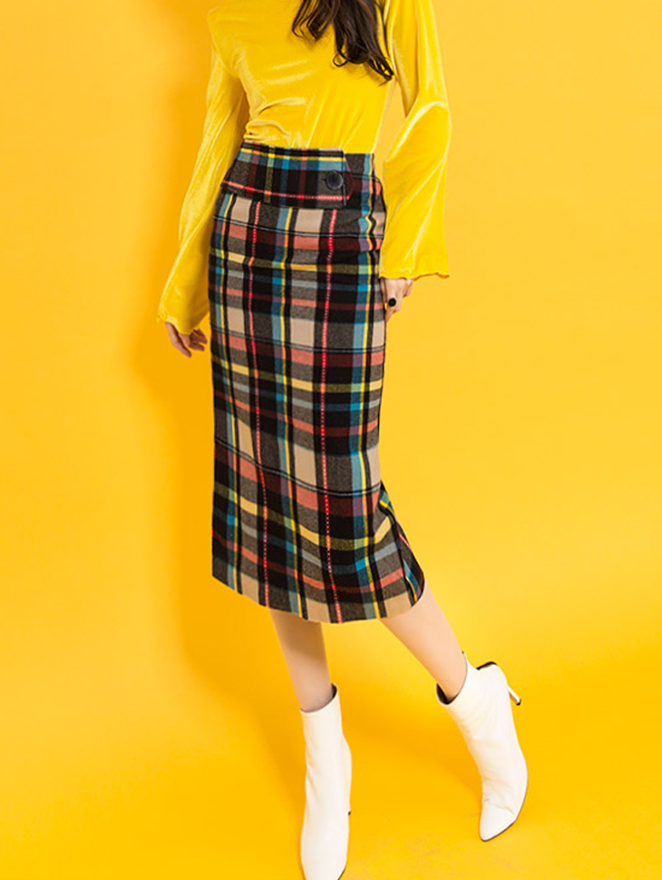 SK1823 独特配色格纹裙 (第3次进货)