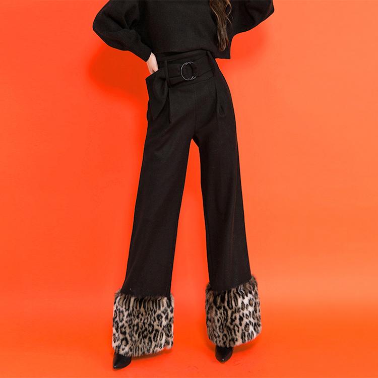 P9018 豹纹重点长裤 (腰带组合)