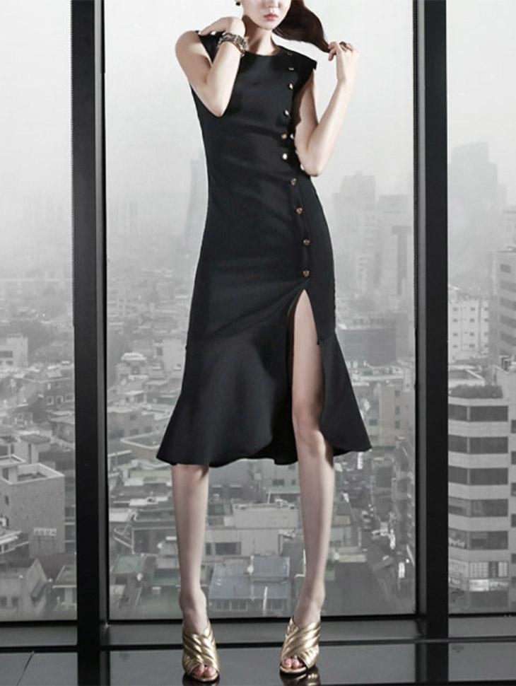 D3002 Monty Slit Oshimatsu连衣裙(190号重新储存)