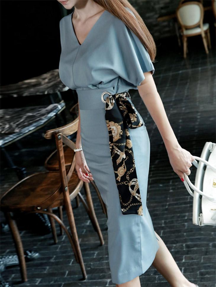 D3094 Roise V领套装(衣带&裙子)(腰带套)* L尺码制作*(138再进货)