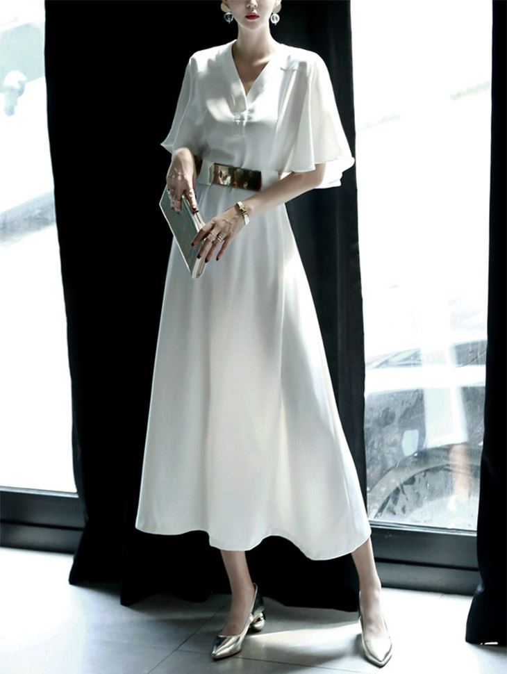 D3122 Sling V Neck雪纺连身裙(腰带套)(3再进货)