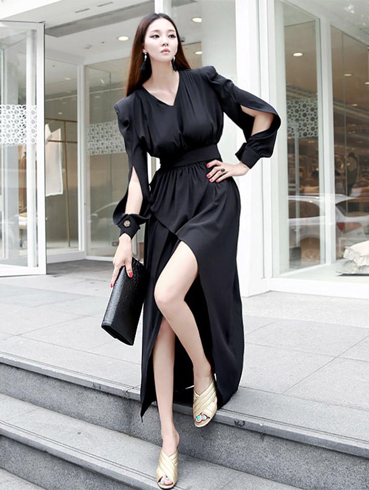 D3370 nilraen包零售狭缝连衣裙(6次再有库)