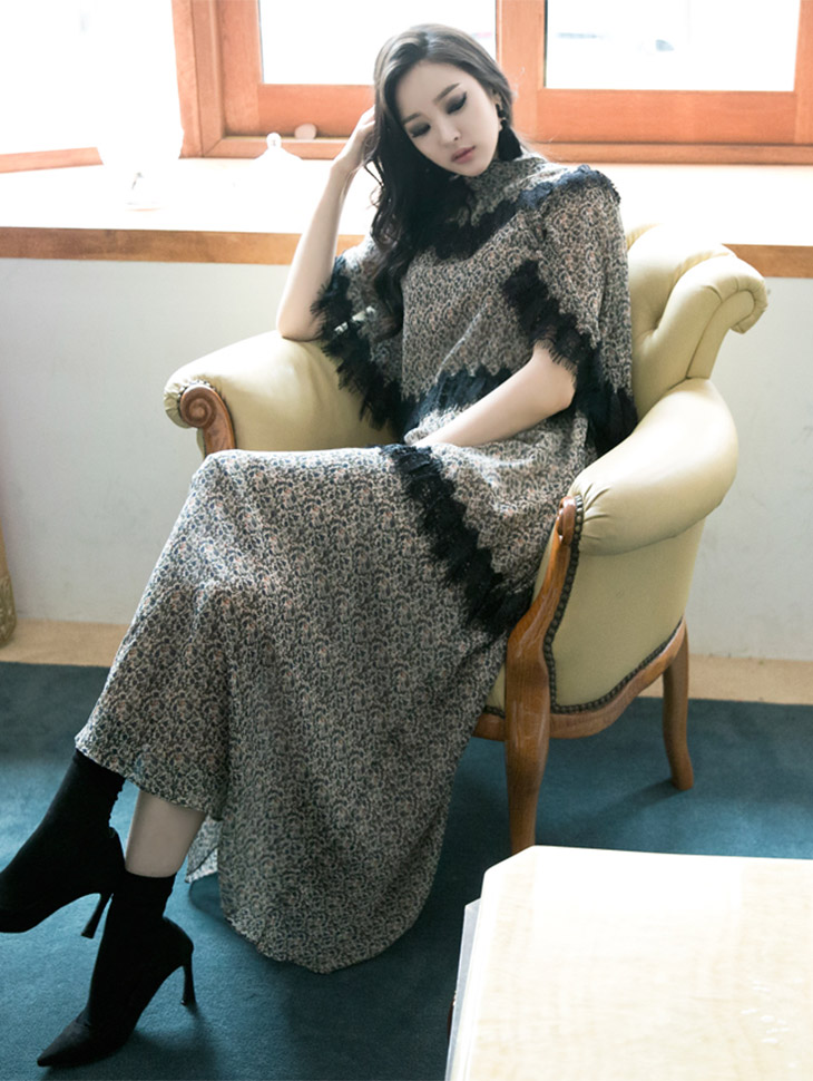 D-4439 Lau图案丝丝长款连衣裙(十阶重新存放)