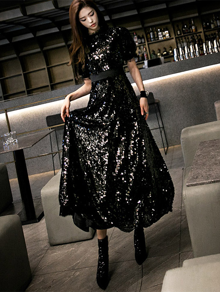 D3483 蓬蓬裙卷闪耀连衣裙