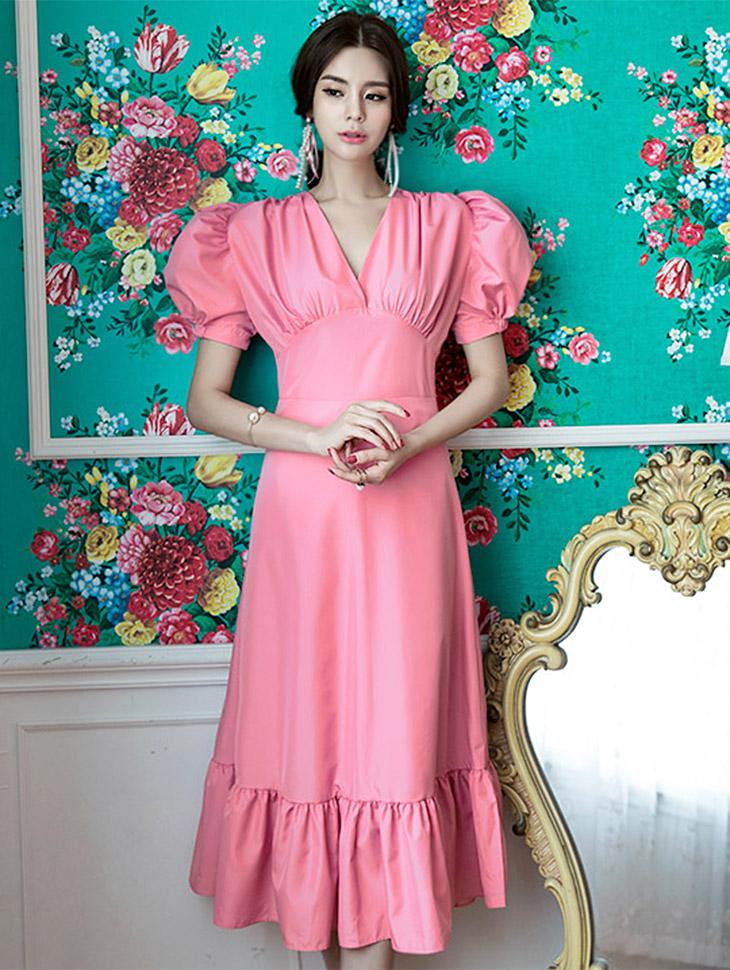D3550优雅泡泡袖长款连衣裙