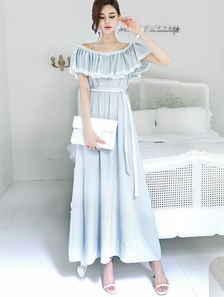 D-4578出荷可以蕾丝连身裙(腰带套)(3再进货)*米色*