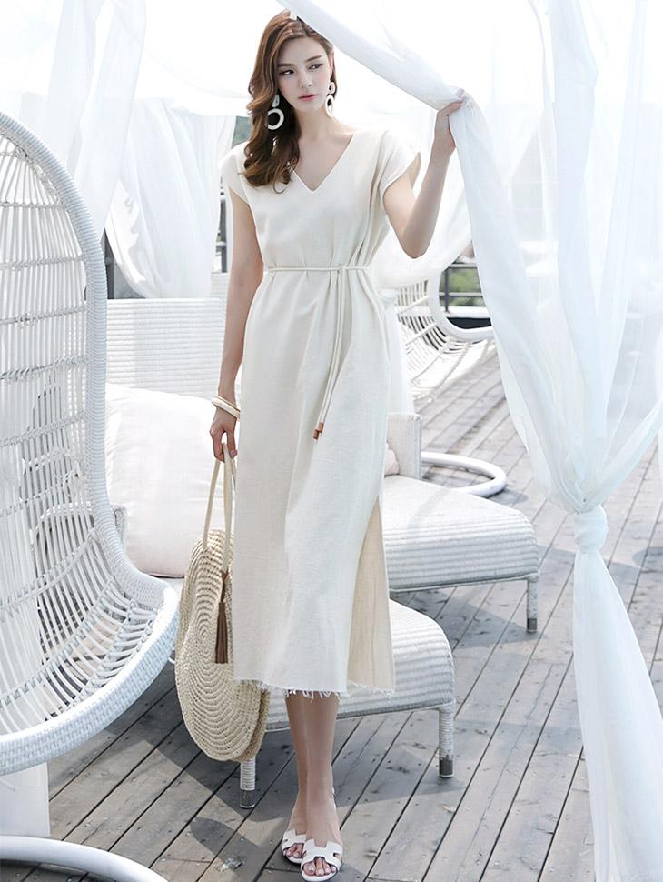 D-4588马林V字长款连衣裙(腰带套)