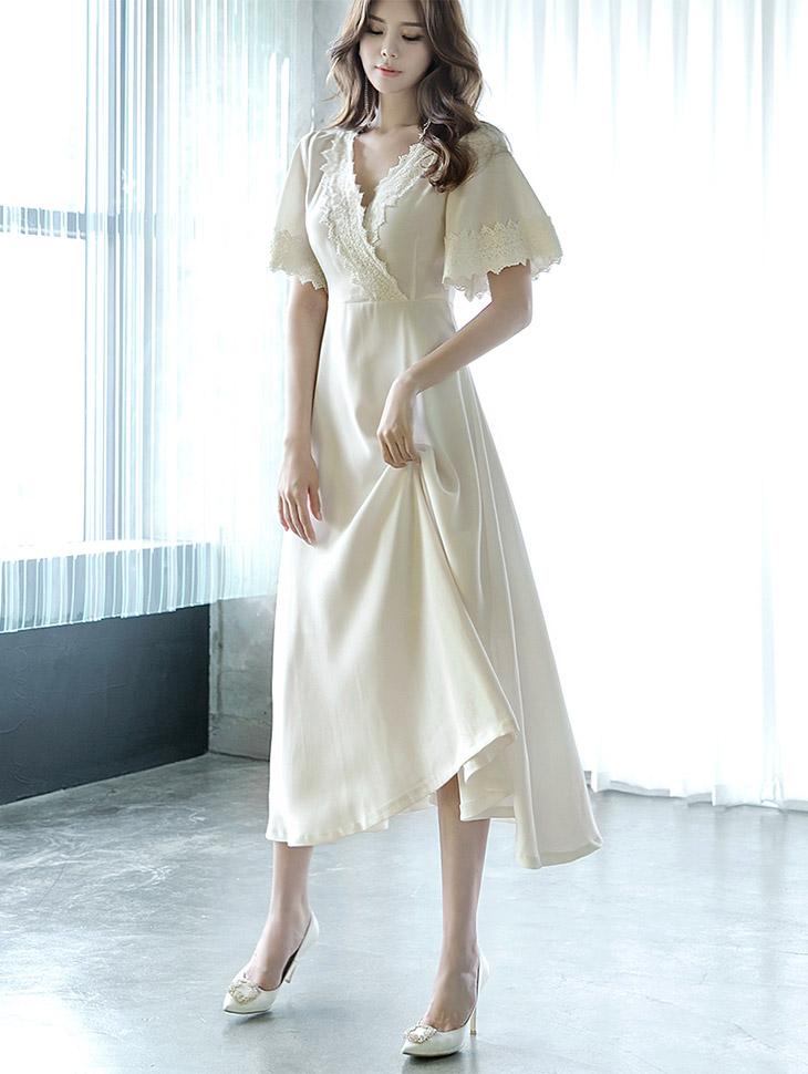 D3617玉蕾丝长款连衣裙(35号重新储存)