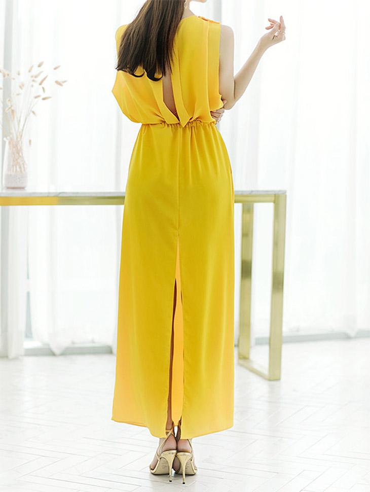 D3627 Kairin的背部/破洞衫Maxi连衣裙