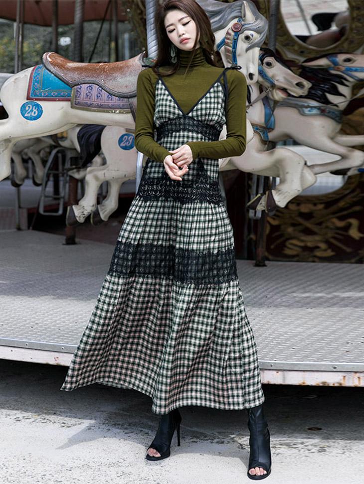 D3660 修身蕾丝格子连身裙