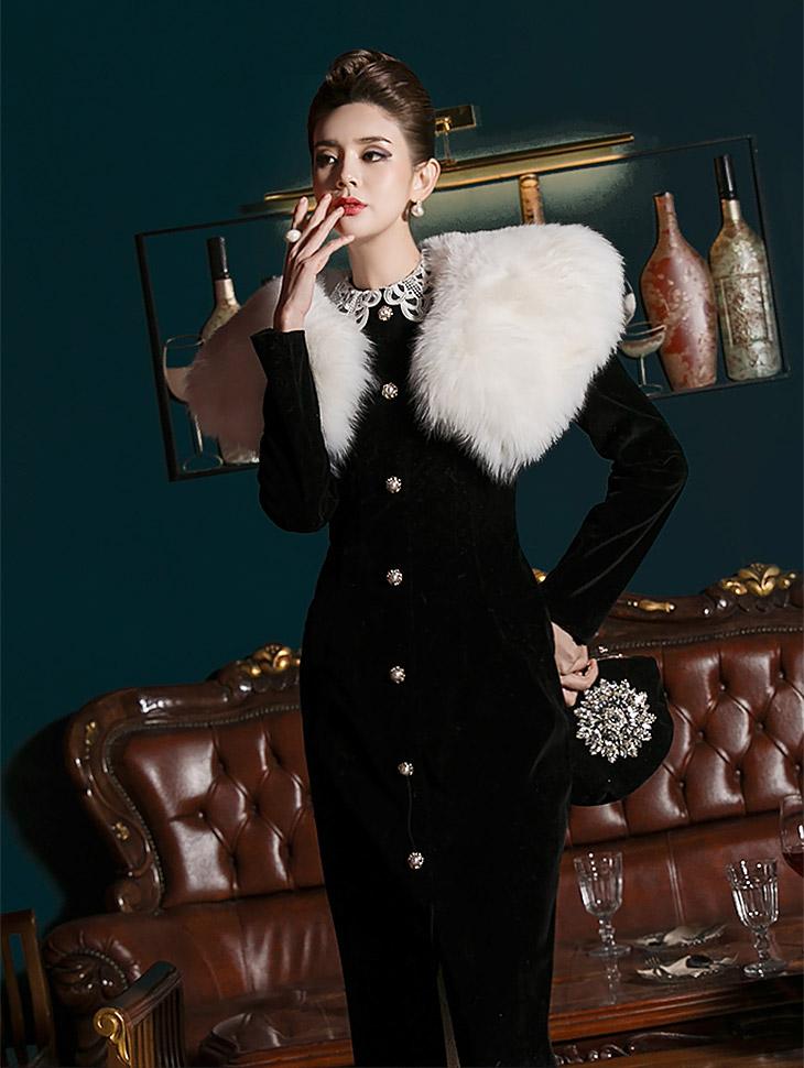 D3691蕾丝领修身丝绒连身裙* L尺寸制作*(18进货)