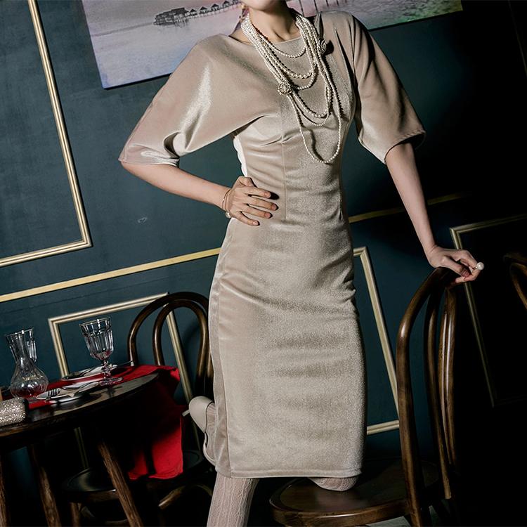 D3695 Drawplane Neck丝绒连裙裙* L尺码制作*(12进进货)
