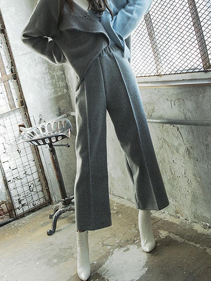 P1962 舒适鬆紧细褶裤