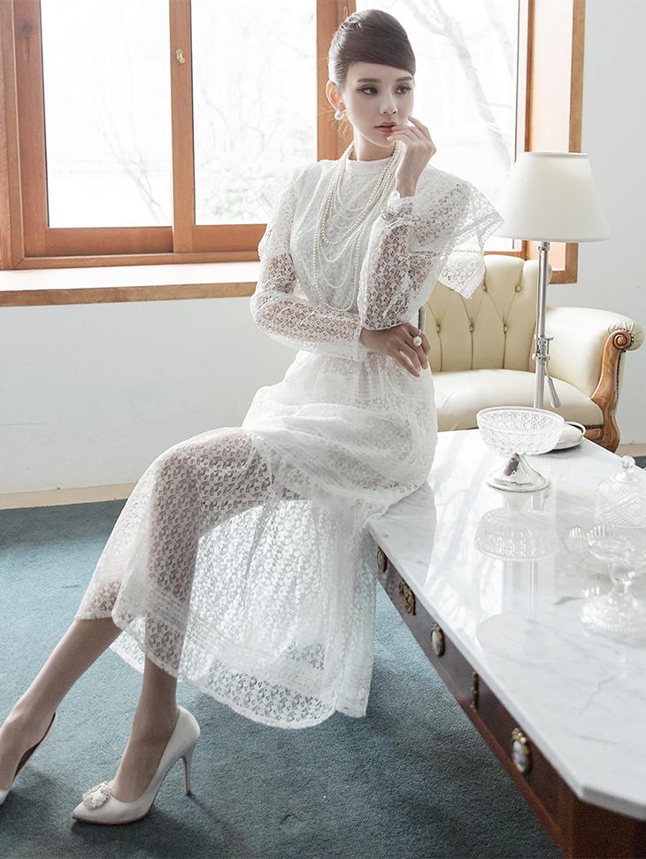 D3703 雪纺蕾丝长版连身裙