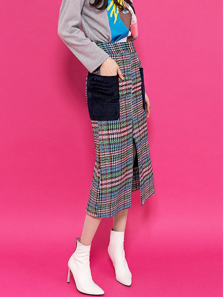 SK1821 毛料口袋格纹半身裙 (第6次进货)