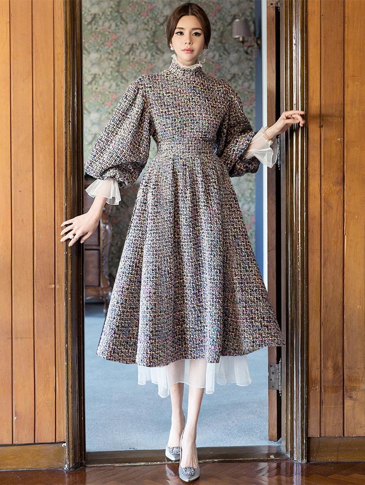 D9058 粗花呢两件式裙