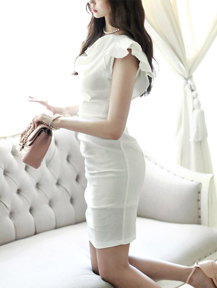 D2713不对称树袖捏连衣裙(146号重新订购)* L九码制作*
