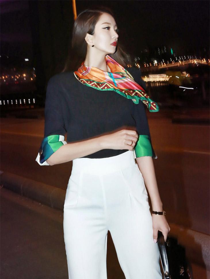 B1717面部彩色袖子颜色垫女衬衫(第141次重新库存)
