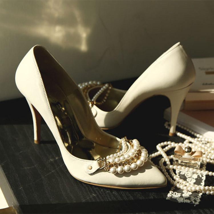 HAR-537奢华裙双珍珠高跟鞋*手工制作*