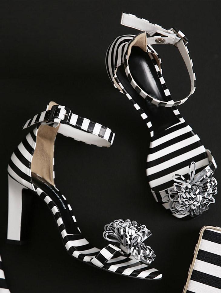HAR-596露趾鞋跟级条纹鼻子李萨如*手工制作*