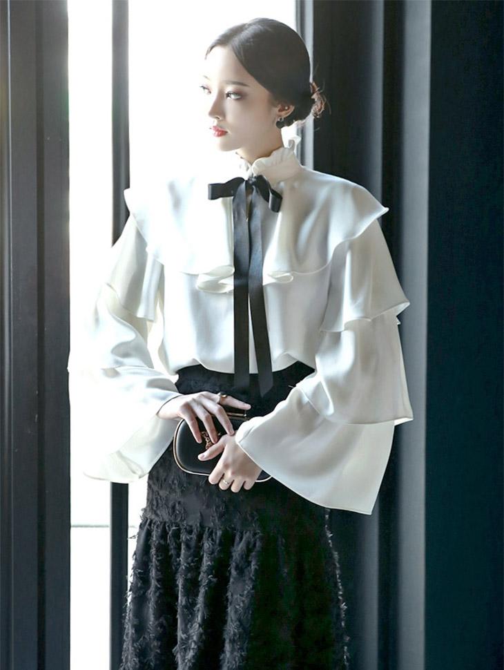 B2115 Pamela Double Frill Woman衬衫(15号重新入库)