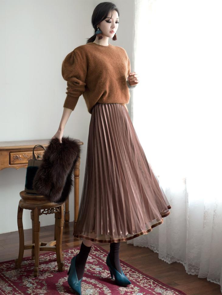 SK1599线丝绒丝绒100折裙子(53号重新放养)