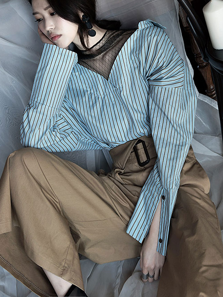 S257透明条纹肩线衬衫(9次再有库)