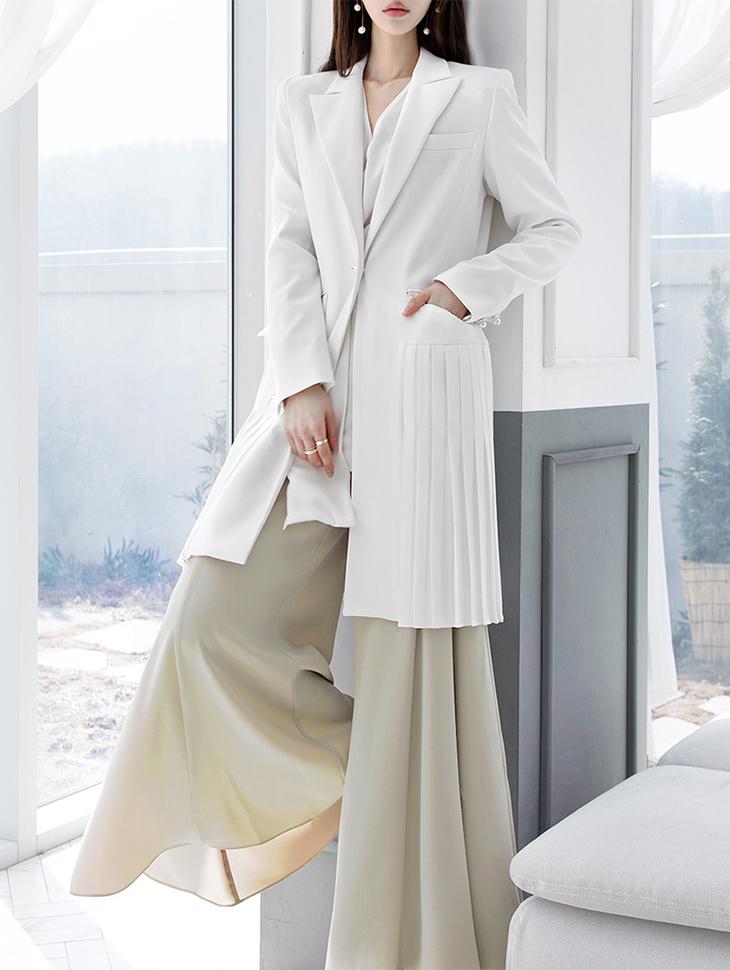 J-4888珍珠花边定制西装领型百折夹克*象牙色*