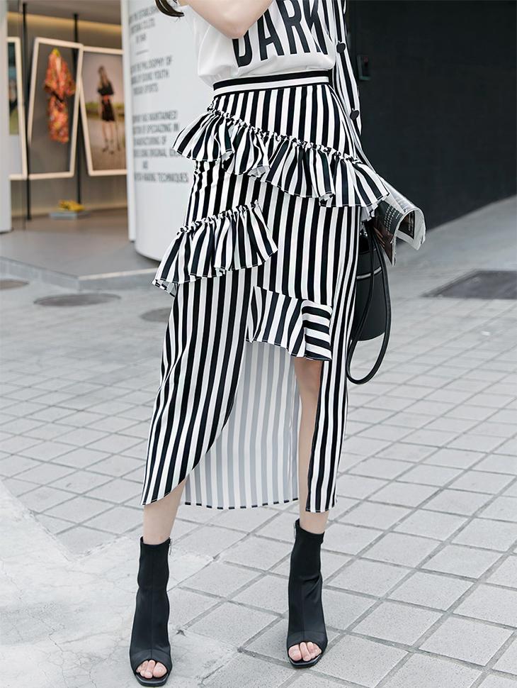 SK1682双折叠展开条纹裙子