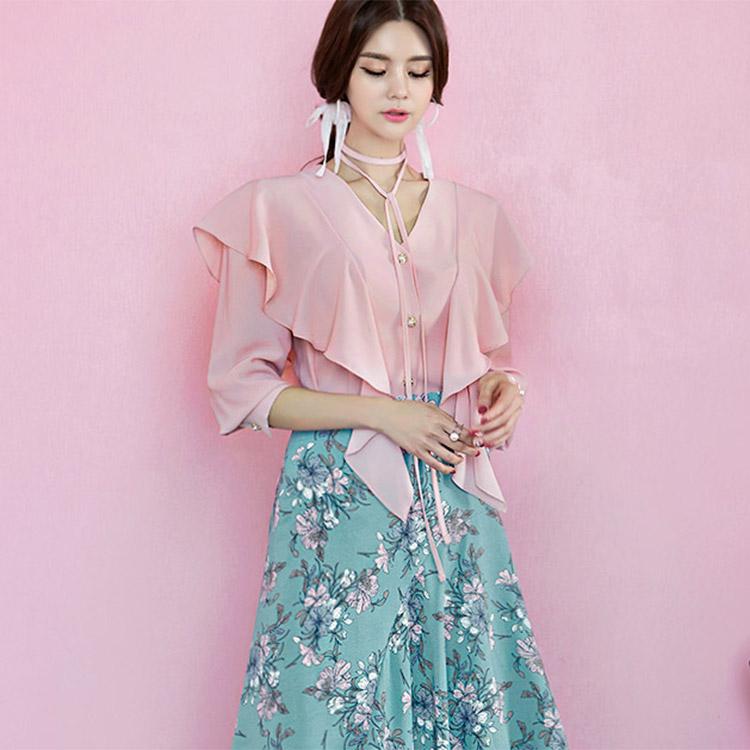 B2213 Holic chinju纽扣荷叶边女士衬衫(串套)(24进货)
