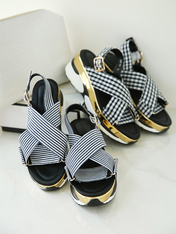 AR-2066图案皮条/束带胶底帆布鞋凉鞋
