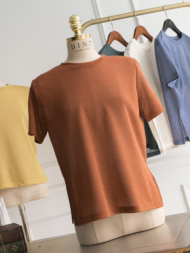E1765夏天圆领针织衫上衣*芥末色*