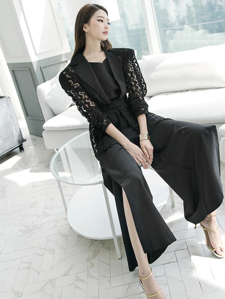 J-9005蕾丝完美线织外套(腰带套)