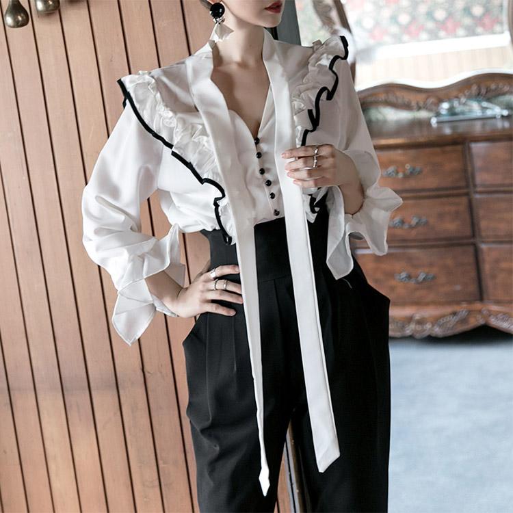 B2305腰围围边彩色边缘女衬衫(第41条现货)