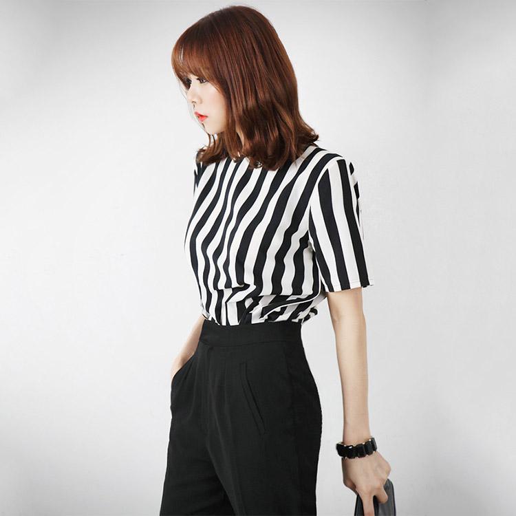 B867 Vertical Arrangement Zipper Woman衬衫(30进货)
