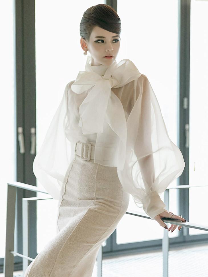 B9005 泡泡袖高领雪纺衫(第3次进货)