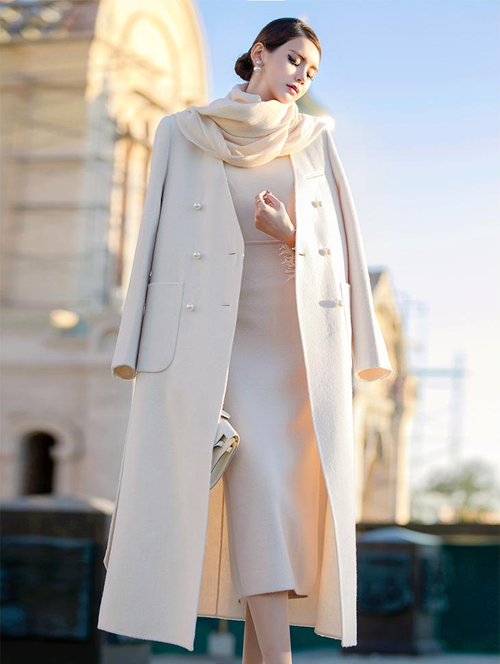 J-5061优雅双珍珠呢子大衣(腰带套装)*黑色标签*