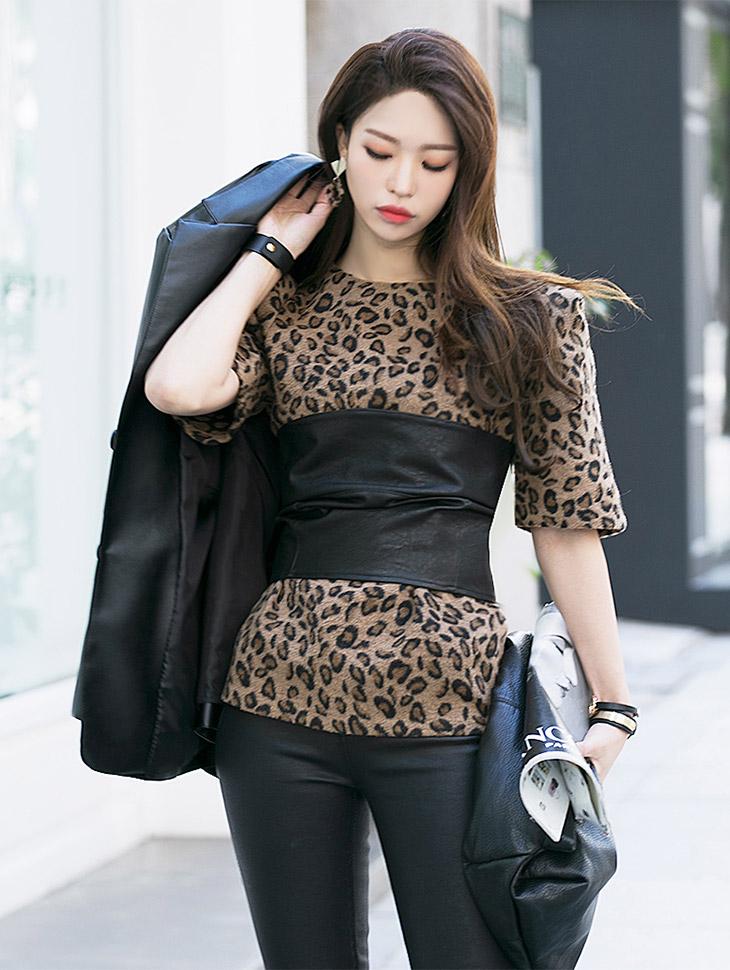 E1807女式豹纹泡泡袖
