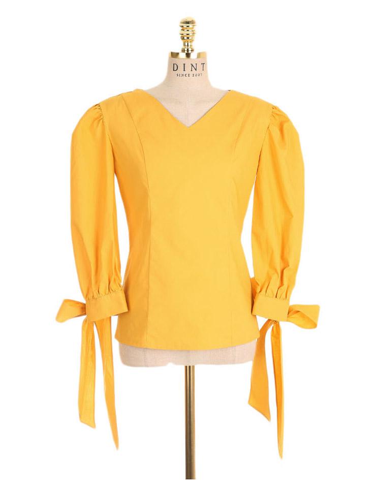 B2339挎包折叠褶蝶黄女结衬衫