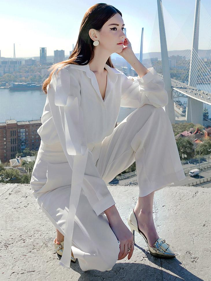 B2336グラム柔丝领带女衬衫