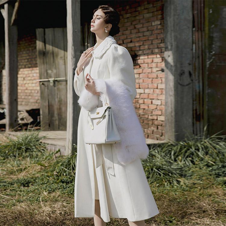 J-5116 蕾丝领羊毛大衣 (腰带&领子组合)