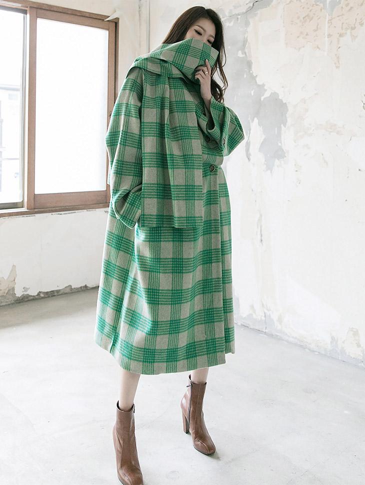 J-5130 Cylia子房格子呢子大衣(围巾套装)