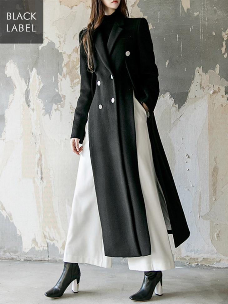 J-5125银色纽扣开缝关键点呢子大衣(腰带套)*黑标*